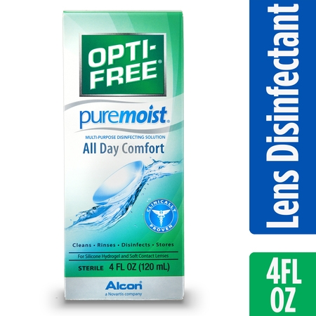 (2 pack) OPTI-FREE Puremoist Multipurpose Contact Lens Disinfecting Solution, 4 Fl.