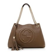 7d568cc10618 Gucci Soho Leather Shoulder Bag Dark Brown Cuir Gold Chain Handbag New  Italy. Price