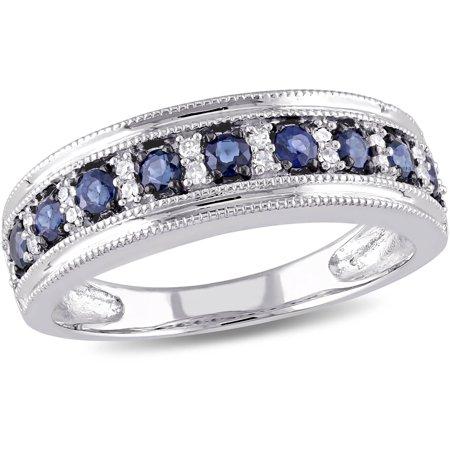 Orange Sapphire Diamond Anniversary Ring - 1/2 Carat T.G.W. Blue Sapphire and 1/10 Carat T.W. Diamond 10kt White Gold Semi-Eternity Anniversary Ring