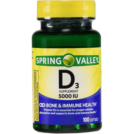 Spring Valley Vitamin D3 Softgels, 125 mcg (5000 IU), 100
