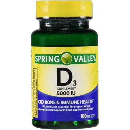 Spring Valley Vitamin D3 Softgels, 125 mcg (5000 IU), 100 Ct Beta Carotene Softgels Antioxidant Vitamins