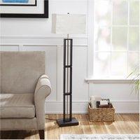 Mainstays Dark Wood Floor Lamp with Rice Paper Shade
