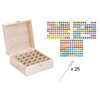 Wooden Essential Oil Box w/ Essential Oil Labels - Holds 25 (5-15 ml) Essential Oil Bottles - Perfect Essential Oils Case for Traveling and Presentations