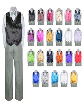4PC Shirt Gray Pants Satin Vest Set Baby Boy Toddler Kid Formal Party Suit Sm-7