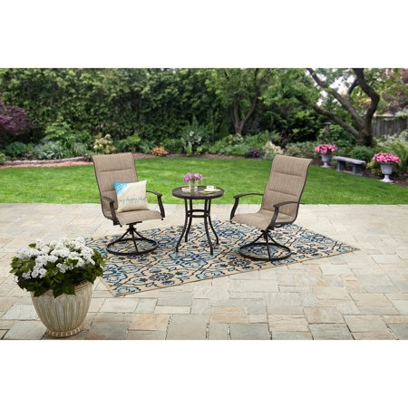 Mainstays Highland Knolls 3-Piece Outdoor Bistro Set, Tan