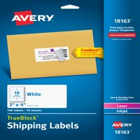 "Avery TrueBlock Shipping Labels with Sure Feed, 2"" x 4"", Matte White, Laser/Inkjet, 100 Labels (18163)"
