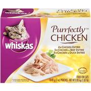 Whiskas Purrfectly Chicken Variety Pack Wet Cat Food, (10) 3-Oz Pouches