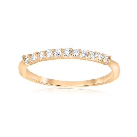 14k Yellow Gold Anniversary Band - 14k Yellow Gold 1/4ct Diamond Wedding Anniversary Ring Womens Stackable Band