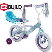 "Disney Frozen 12"" Girls' EZ Build Bike with Sleigh Doll Carrier, by Huffy"