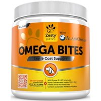 Zesty Paws Omega Bites Skin & Coat Support Chews with Omega 3, 6, & 9 for Dogs, 90 Soft Chews