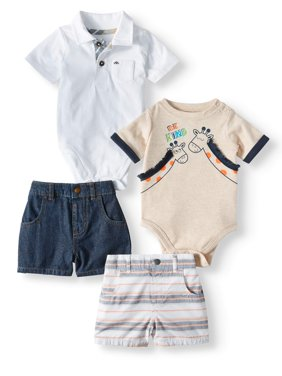 Baby Boys' Mix and Match Bodysuits and Shorts, 4-Piece Outfit Set