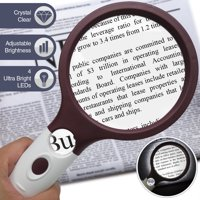Extra Large 4X Magnifying Glass with 4 Ultra Bright LED Lights & 25X Zoom Lens, [Upgraded] Adjustable Brightness Level Illunimated Magnifier for Reading Small Prints, Aging Eyes Seniors & Hobbies