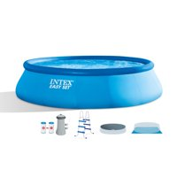 """Intex 15' x 42"""" Inflatable Easy Set Above Ground Swimming Pool w/ Ladder & Pump"""
