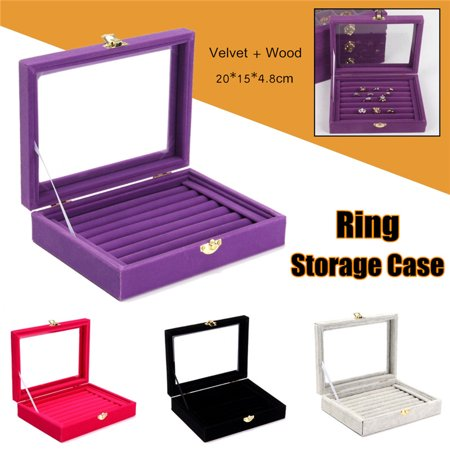 4 Colors Showcase Display Velvet Jewelry Organizer Box Show Case Tray Rings Earrings Bracelet Portable Necklace Glass Storage Gift Tray Holder Wood Travel Cosmetic For Girls &Women