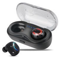 TSV True Wireless Earbuds, TWS Stereo Bluetooth Headphones with Built-in HD Mic and Charging Case for iPhone and Android - Black