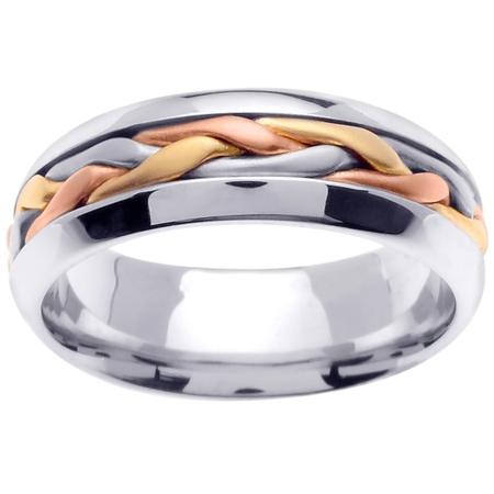 - 18K Tri Color Gold French Braid Handmade Comfort Fit Women's Wedding Band (7mm)