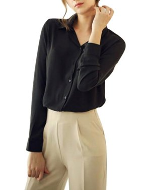 OUMY Women Button Down Chiffon Blouse Tops