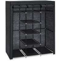 Best Choice Products 9-Shelf Portable Fabric Closet Wardrobe Storage Organizer w/ Cover and Adjustable Rods - Black