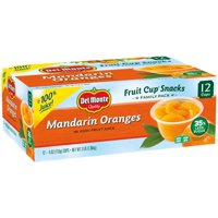(12 Cups) Del Monte Fruit Cup Snacks Mandarin Oranges, 4 oz cups