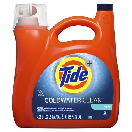 Tide Coldwater Clean Liquid Laundry Detergent, Original, 89 Loads 138 fl oz