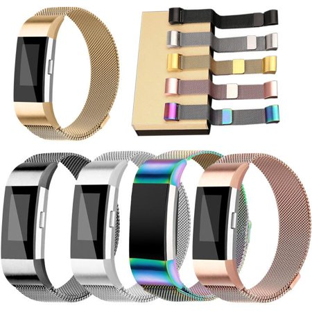 All American Wristbands (Black Stainless Milanese Magnetic Loop Band Strap For FitBit Charge 2 Watch Wristband)