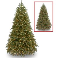 """National Tree Pre-Lit 7-1/2' """"Feel Real"""" Jersey Frasier Fir Medium Hinged Artificial Christmas Tree with 1000 Low Voltage Dual LED Lights and Plastic Caps"""