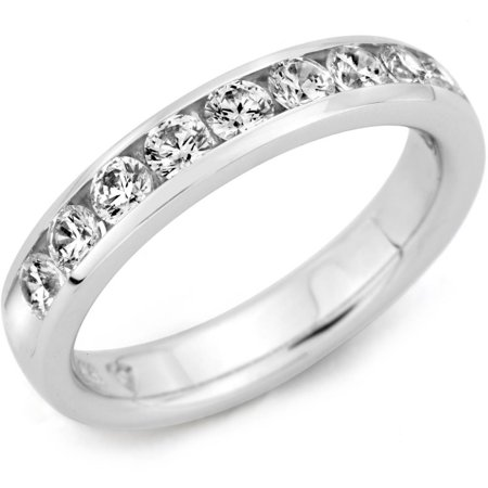 1/4 Carat T.W. Diamond 10kt White Gold Machine Channel-Set Band with HI I1-I2 Quality Brilliant Round Diamonds