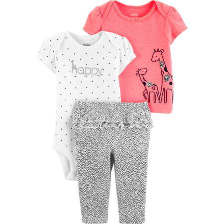 Short Sleeve T-Shirt, Bodysuit, and Pants Outfit, 3 pc set (Baby Girls) - Western Outfits For Kids
