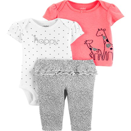 Short Sleeve T-Shirt, Bodysuit, and Pants Outfit, 3 pc set (Baby Girls) - Kids 3 Piece Outfit