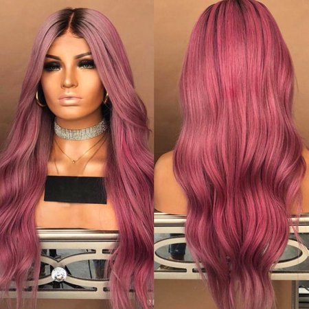 LuckyFine 28'' Synthetic Ombre Hair Lace Front Wig Long Wavy Curly Full Wigs For Women Party Cosplay Costume - Mens Long Hair Wig