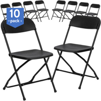 Flash Furniture (10-Pack) HERCULES Series 800 lb Capacity Premium Plastic Folding Chair, Multiple Colors