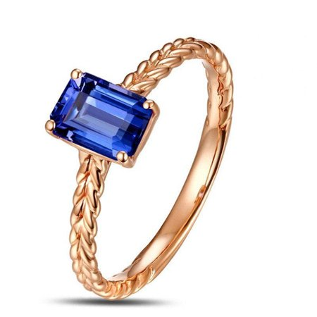 1 Carat Emerald cut Sapphire Solitaire Antique Engagement Ring in 14k Rose Gold affordable Sapphire and diamond engagement ring