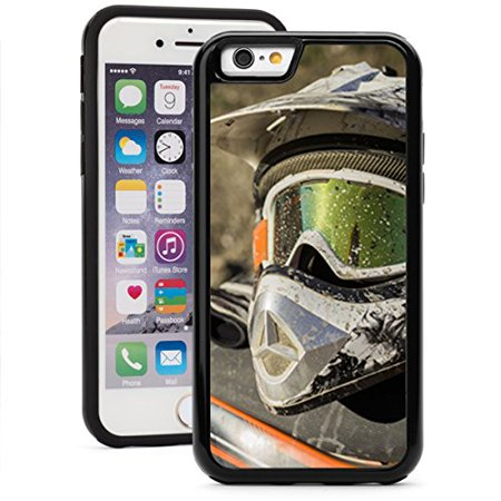 For Apple iPhone 6 6s Shockproof Impact Hard Soft Case Cover Dirty Motorcycle Motocross Helmet With Goggles (Black)