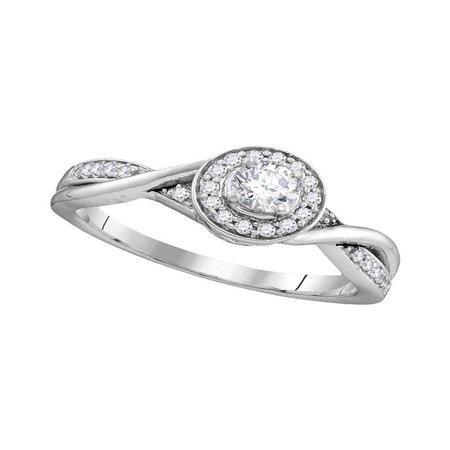 10kt White Gold Womens Round Diamond Solitaire Twist Bridal Wedding Engagement Ring 1/3 Cttw (Diamond Solitaire Twist Ring)