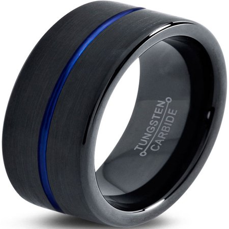 Charming Jewelers Tungsten Wedding Band Ring 8mm for Men Women Black Blue Center Line Pipe Cut Brushed Lifetime Guarantee
