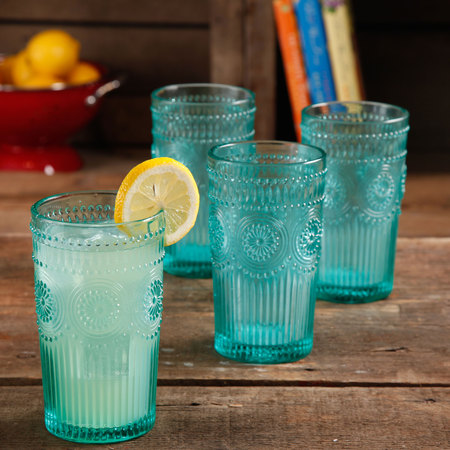 Glass Football Tumbler (The Pioneer Woman Adeline 16-Ounce Emboss Glass Tumblers, Set of 4 )