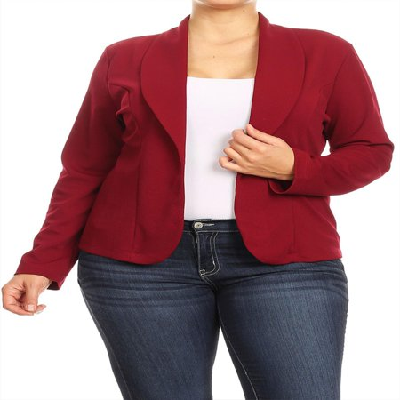 Long Sleeve Wool Blazer (MOA COLLECTION Women's Plus Size Casual Solid Basic Long Sleeve Blazer Cardigan Jacket/Made in USA )