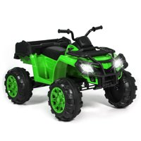 Best Choice Products 12V Kids Powered Large ATV Quad 4-Wheeler Ride-On Car w/ 2 Speeds, Spring Suspension, MP3, Lights, Storage - Green