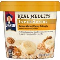 (6 Pack) Quaker Real Medleys SuperGrains Oatmeal, Banana Walnut, 2.46 oz