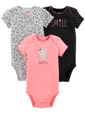 Short Sleeve Bodysuits, 3-pack (Baby Girls)