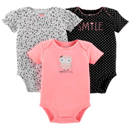 Baby Girl Keepsake (Child Of Mine By Carter's Short Sleeve Bodysuits, 3-pack (Baby Girls))