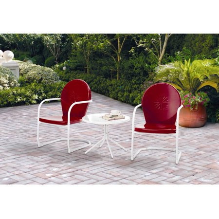Mainstays Retro C-Spring 3-Piece Metal Outdoor Chat Set, Red, Seats 2