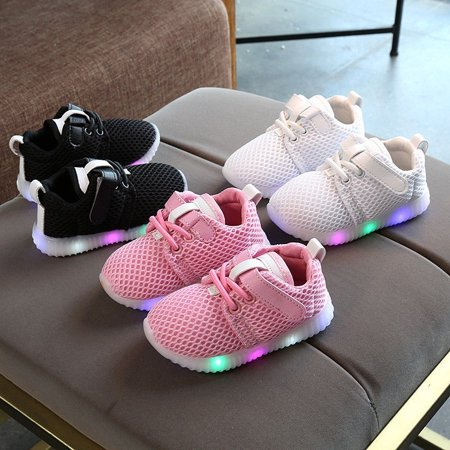 Toddler Kids Baby Boys Girls Light Up Soft Sole Sport Running LED Shoes
