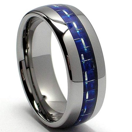 8MM Dome Tungsten Carbide Ring Wedding Band W/ Blue Carbon Fiber Inlay Sizes 6 to 13 Carbon Fiber Inlay Ring