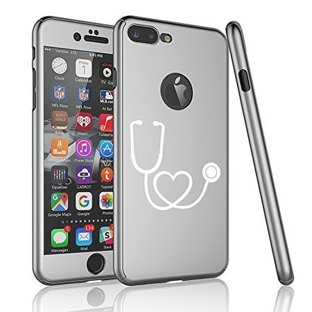 For Apple iPhone 360° Full Body Thin Slim Hard Case Cover + Tempered Glass Screen Protector Heart Stethoscope Nurse Doctor (Silver For iPhone 6 / 6s)