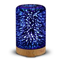 3D Glass Aromatherapy Oil Diffuser, Color Changing 100ML Essential Oil Cool Mist Humidifier 3D Effect Starburst Night Lights 100-240V