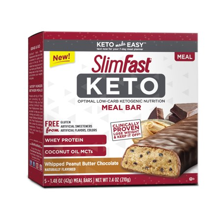 Chocolate Reindeer - SlimFast Keto Meal Replacement Bar, Whipped Peanut Butter Chocolate, 1.48oz., Pack of 5