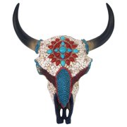 a7e25eb73 Design Toscano Mystic Plains Warrior Faux Gem Encrusted Cow Skull Wall  Sculpture: Medium