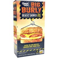Great Value Big Burly Bacon, Egg and Cheese on Cinnamon Swirl French Toast Breakfast Sandwich, 16.62 oz, 2 Count