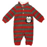 1bb74763c8 Little Wonders Infant Boys Red   Gray Striped Fleece Penguin Pajama Sleeper  ...